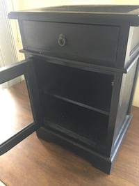 Black Nightstand with Drawer and Glass Cabinet Altadena, 91001