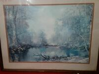 river under trees painting with white frame