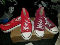 pair of red Converse All Star low-top sneakers