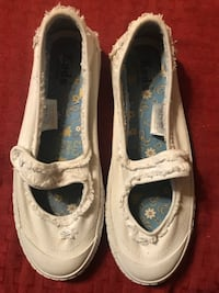 Keds: White, Snap, Canvas Shoes-Ladies 7.5M