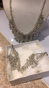 silver-colored necklace with clear gemstones Surrey, V3S 6M5