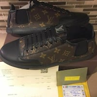 black-and-brown monogram canvas Louis Vuitton sneakers