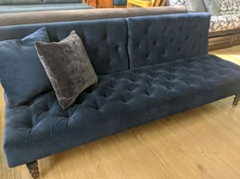 Dark blue velvet sofa bed sleeper convertible / last one on display /