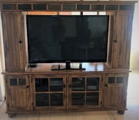 """Newburyport area Just in time for the holidays...Mission Style Entertainment Center 72""""x66X20 with storage on bottom and top including matching coffe table with 2 draws 48X28 NEEDHAM"""