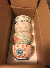 4-pc multicolored floral ceramic bowls with box Edwardsburg, 49112