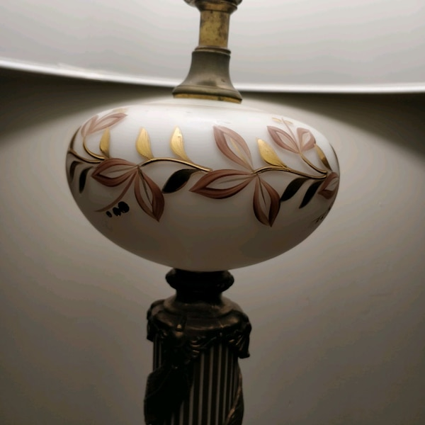 1960s handpainted glass and brass lamp on marble 47b1016a-5f26-41d8-9d5d-6f6da1856e14