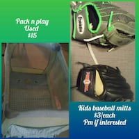 two black and gray leather baseball mitts photo collage
