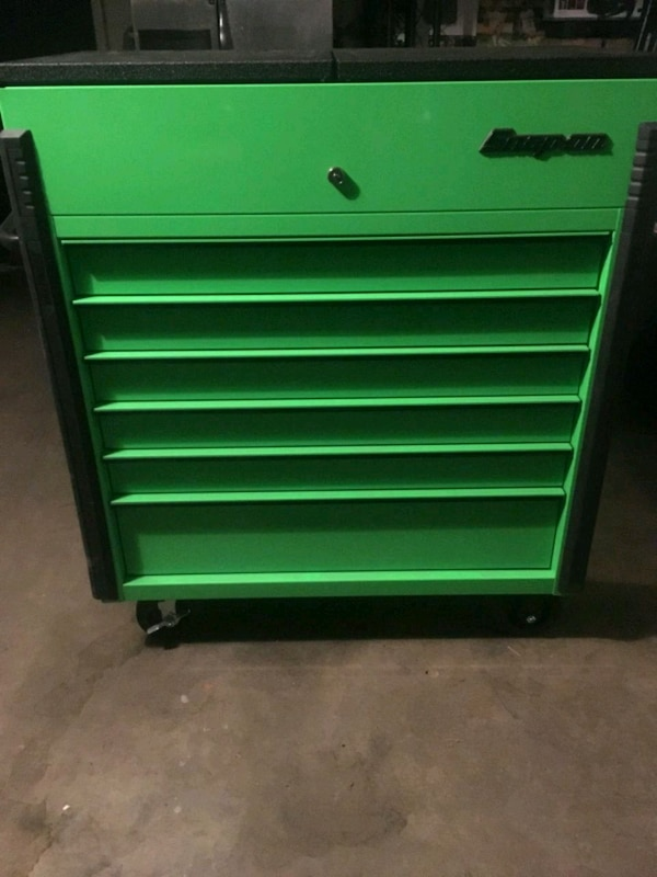 Snap on green and black tool box