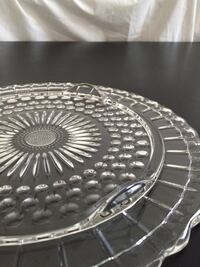 "Collectible 11.5"" Vintage Glass Footed Cake Plate"