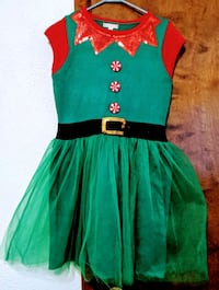 Christmas Santa elf costume ugly sweater outfit dress size large South Bend