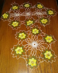 Yellow flowers knitted coaster,  center doilies  Price, 84501