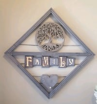 Hand crafted wood Family sign 618 km