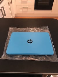 Blue and white hp laptop 644 mi