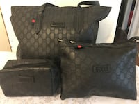 brown and black Gucci leather tote bag 788 km