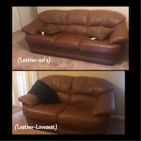 brown leather 3-seat sofa 54 km