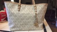 women's gray and white leather Michael Kors tote bag Augusta, 30815