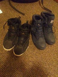 black Air Jordan 7 shoes and black work boots Albany, 12202