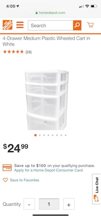 4-Drawer Medium Plastic Wheeled Cart Charlotte, 28204