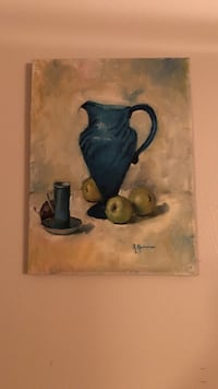 blue ceramic vase near three green apple fruits painting