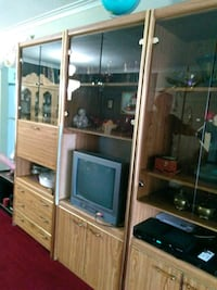 brown wooden framed glass display cabinet Toronto, M1E 2S2