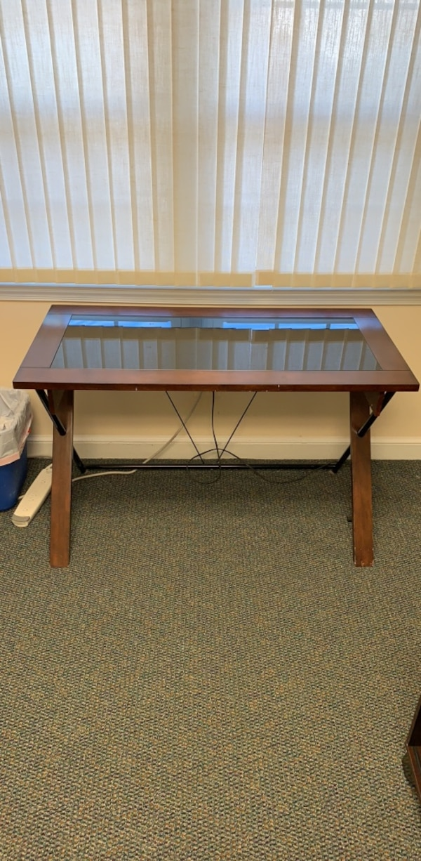 Glass Top Brown Desk