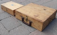 Wood Tool Storage Hinged Boxes W/Latches