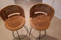 two brown wooden wicker stools Montclair, 22025