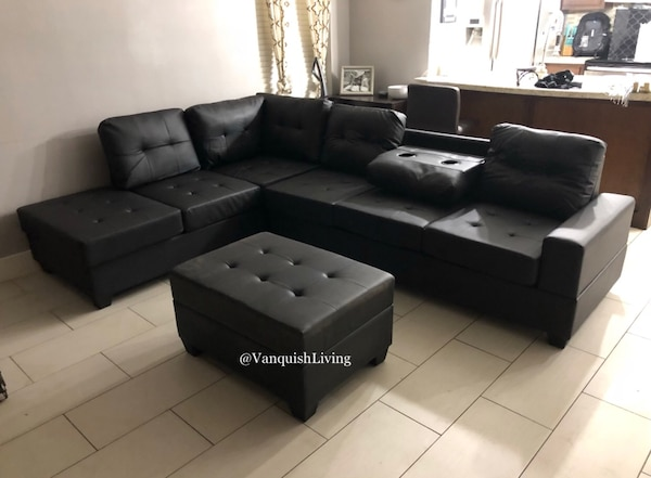 Fantastic Black Leather Reversible Sectional Sofa Couch With Cup Holder And Storage Ottoman Black Sofa Black Couch Frankydiablos Diy Chair Ideas Frankydiabloscom