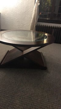 round black wooden framed glass top coffee table Niagara Falls, L2E 6H7