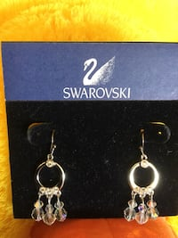 Pair of Swarovski  Crystal earrings  & Blue Lapis Gemstone bracelet Sterling Silver jewelry / 39 km