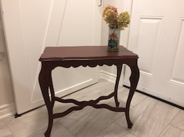 Refinished deep red side table