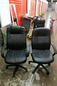 two black leather rolling armchairs Hyattsville, 20785