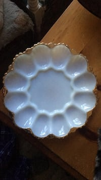 Milk Glass Deviled Egg Plate