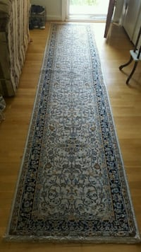 Gray and black and beige floral runner rug Arlington