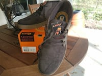 pair of gray-and-white Lugz shoes with box