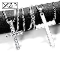 X&P Crystal Cross Long Silver, Black, Gold Chains Necklaces for Women Men 2019 Fashion Christian Stainless Steel Link Chain Necklace Jewelry Silver Spring, 20906