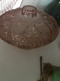 amber cut glass bowl with lid