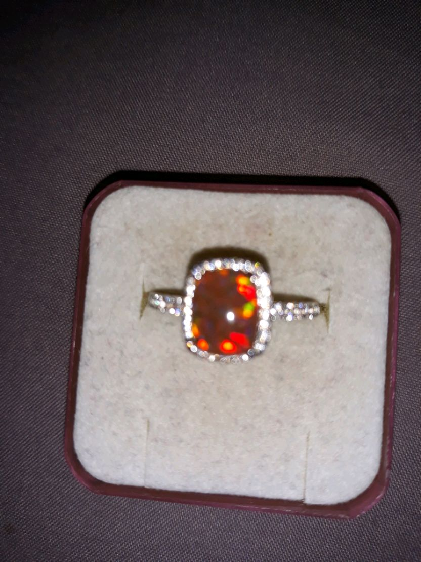 Photo Sterling opal ring. size 7