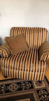 Brown and black striped fabric sofa chair 9 km