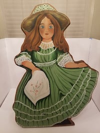 Wooden, Handpainted Victorian Girl Stand-up Painti San Carlos