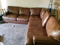 brown suede sectional sofa with throw pillows Whittier, 90603