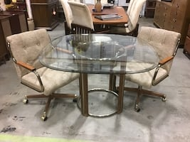 Brass & Glass Table w/2 Chairs