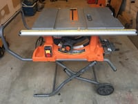 Ridgid table saw. Working and good condition.Siting in my garage, need space.You can come to see/pickup every day after 6Pm, weekends almost anytime. No reserving, text before you want to come and if add is still here then it's available . Home Depot has  Mississauga, L5R 4C3