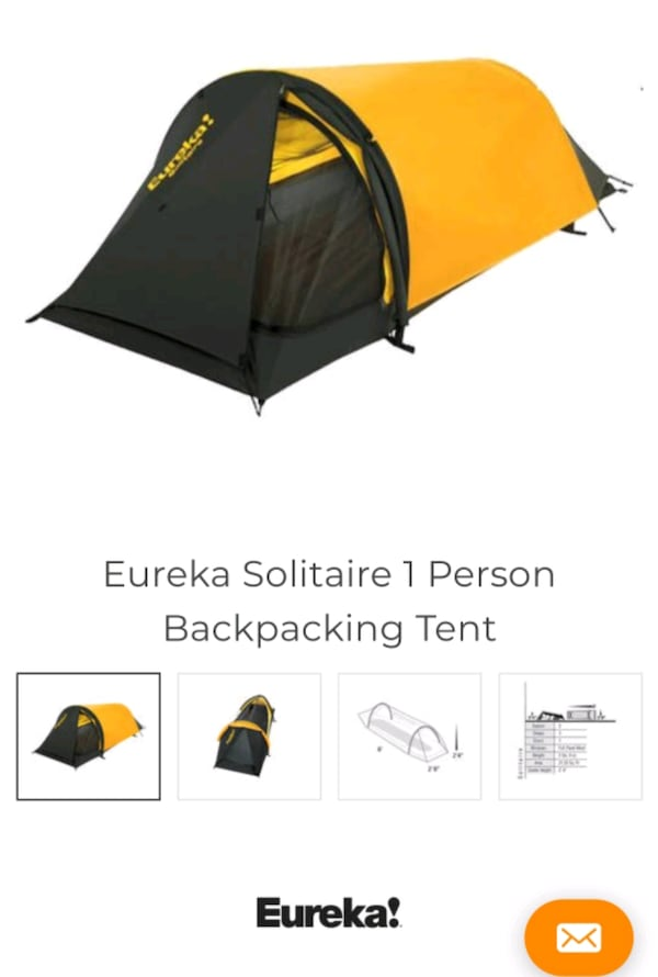 Eureka solitaire 1 person backpacking tent 9981dbe2-4348-4a1f-969c-769e0741bc53
