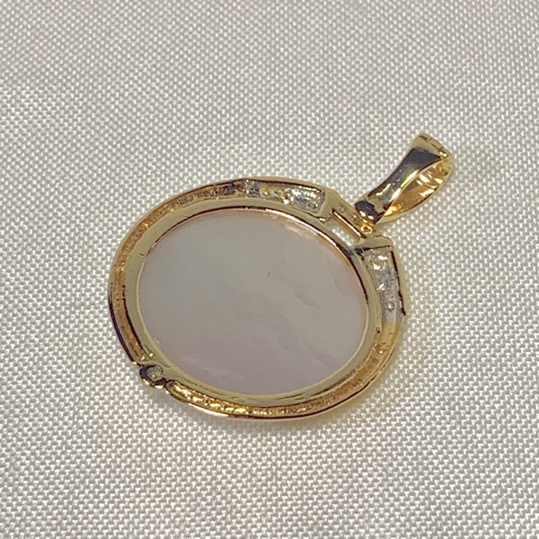 Genuine 14k Gold Blister Pearl Diamond Pendant 02771e7f-be27-49b5-8176-cfd5adaf6837