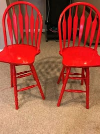 two red wooden windsor chairs Bowie, 20716
