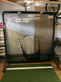 Batting net, AstroTurf mat and a bucket of balls