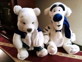 """2 Disney Plushies 12"""" Winter White & Blue Pooh & Tigger with Scarves"""