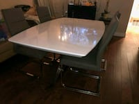 rectangular white wooden table with four chairs dining set Austin, 78753