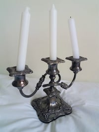 One Antique Silver Plated 3 Arm Candelabra - Bened Toronto